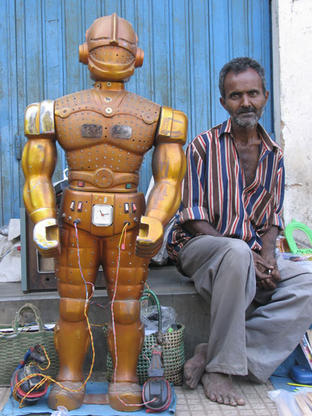 fortune telling robot and owner