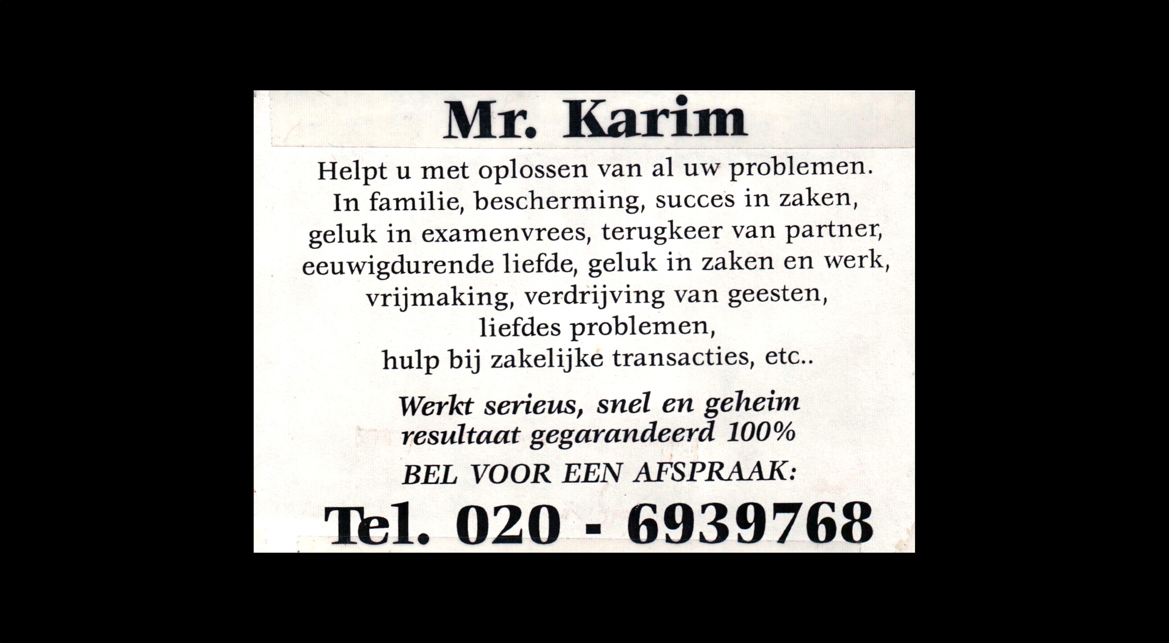 card of Mr. Karim