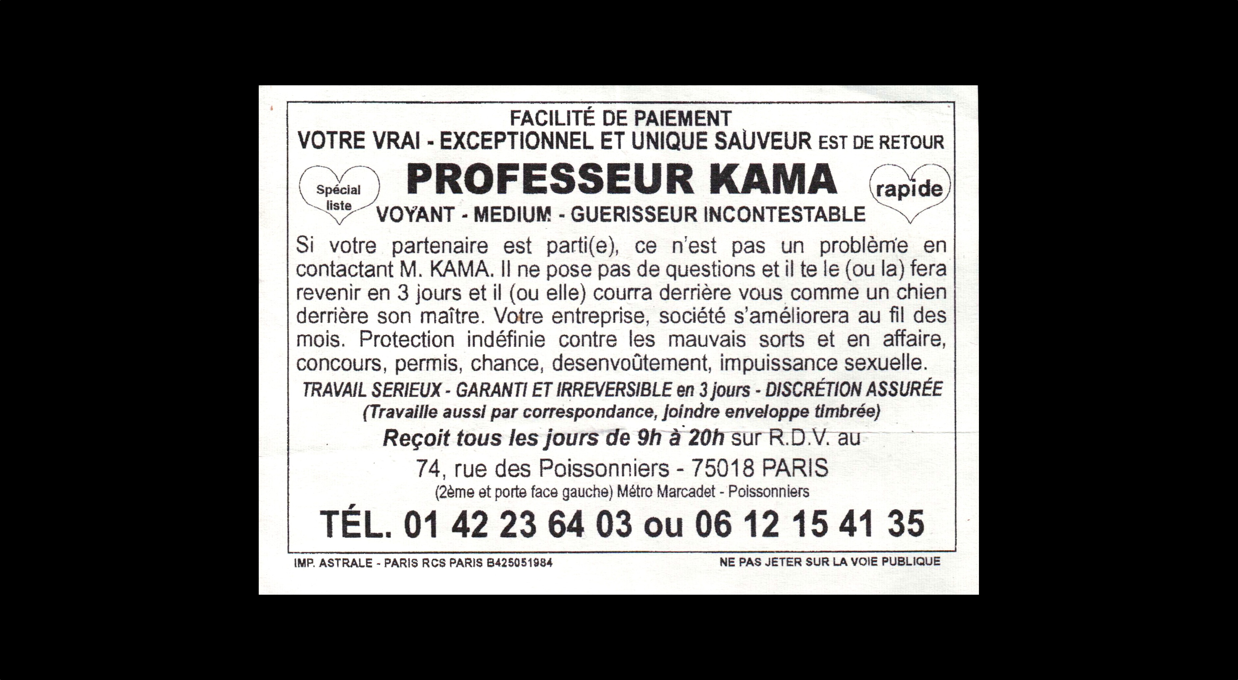 card of PROFESSEUR KAMA