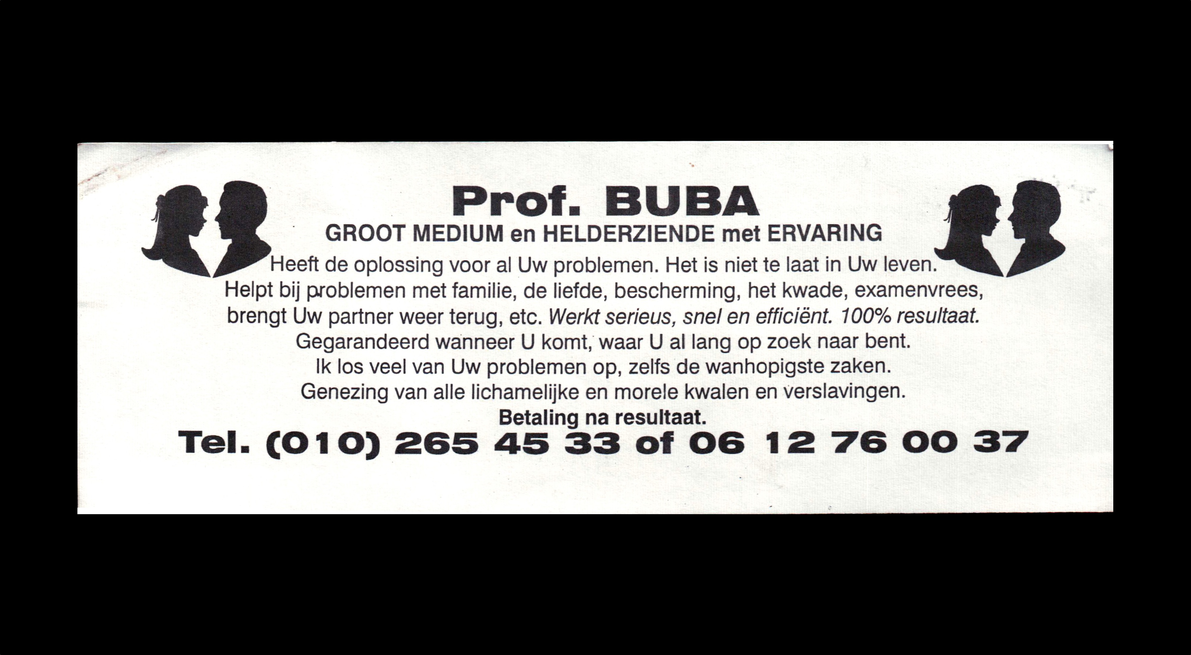 card of Prof. BUBA