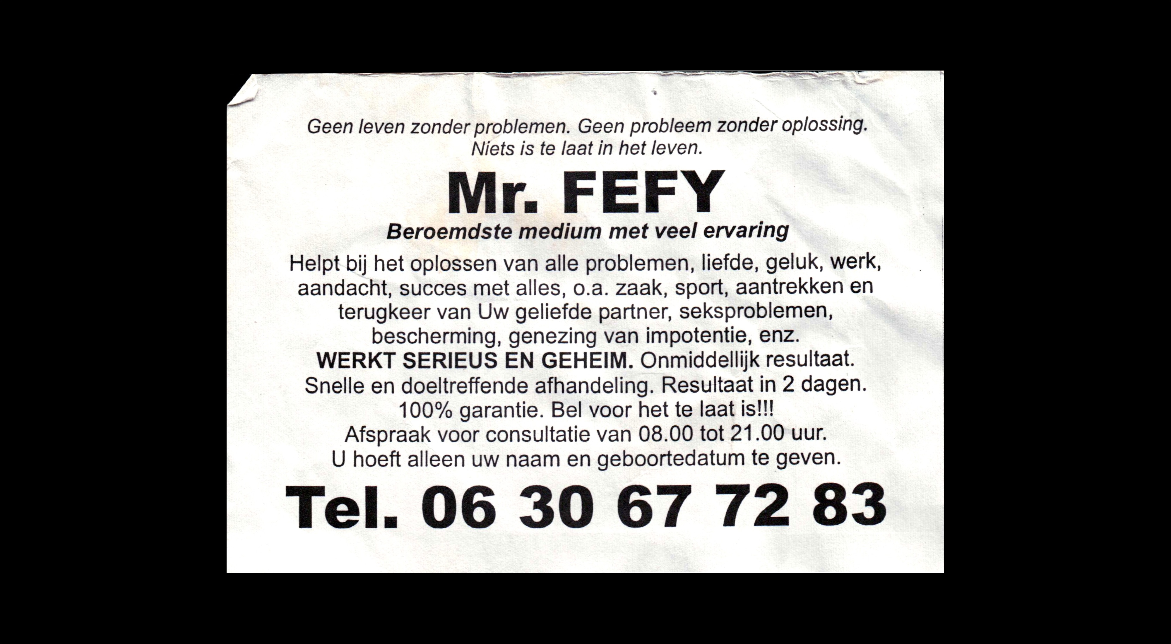card of Mr FEFY