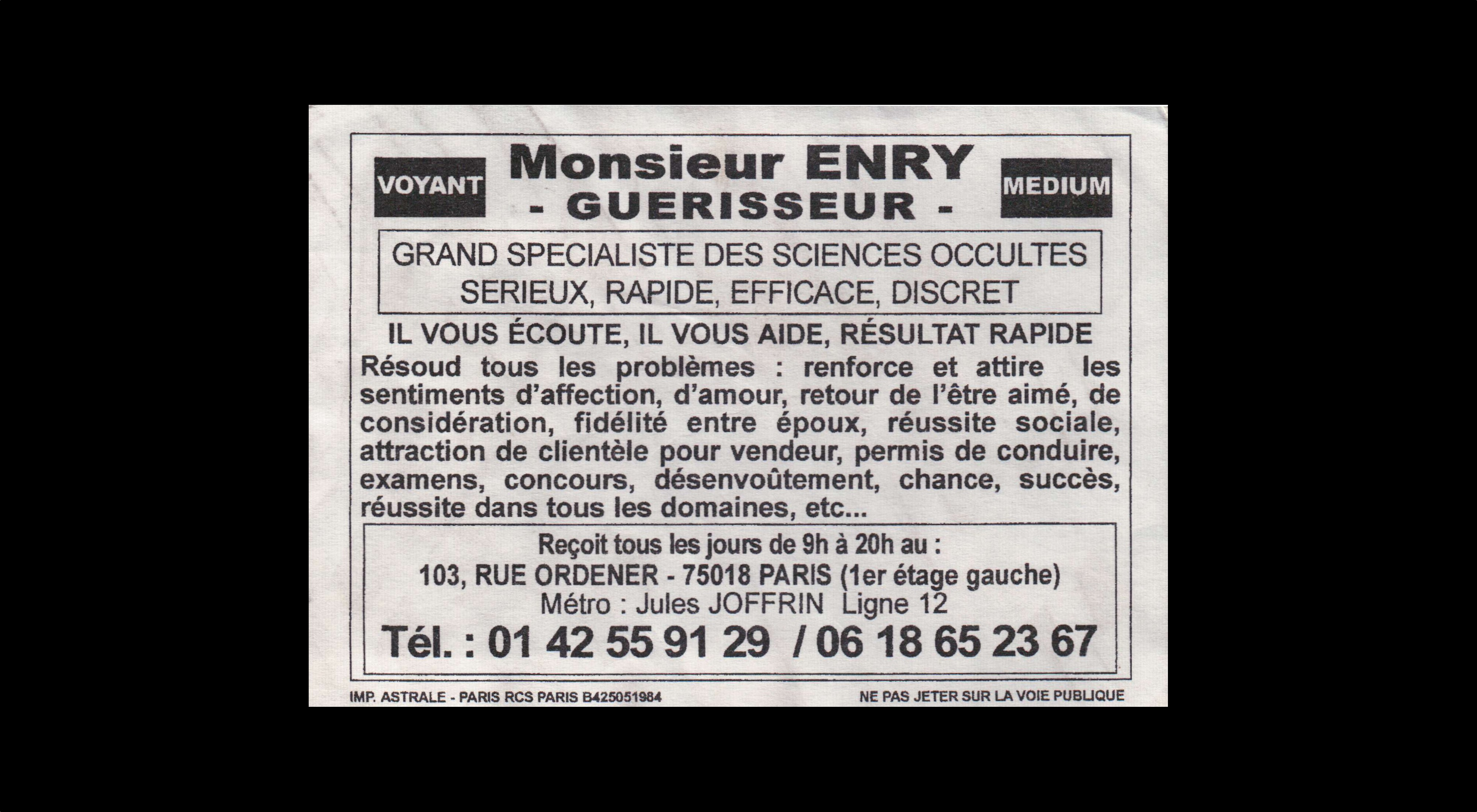 card of Monsieur Enry