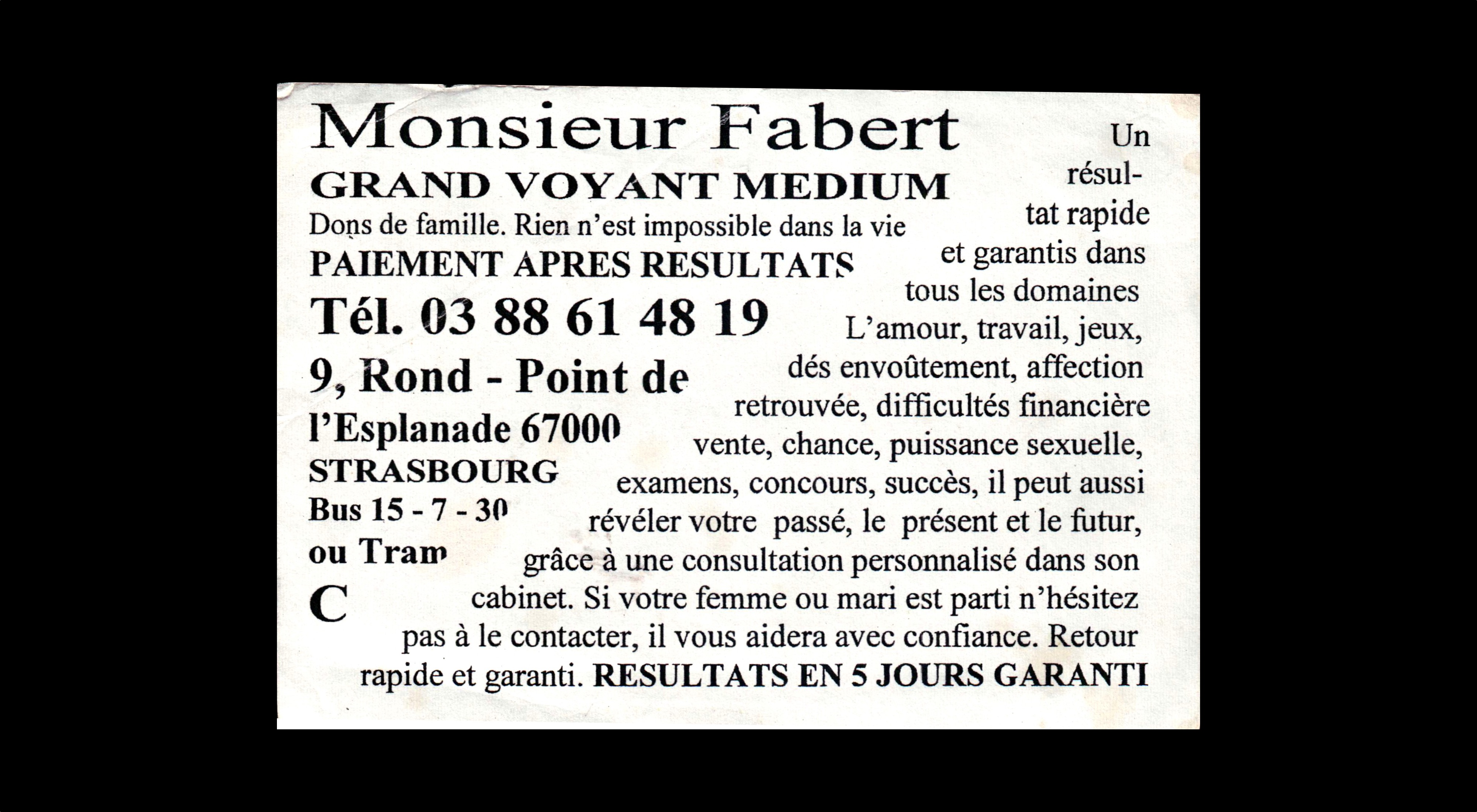 card of Monsieur Fabert