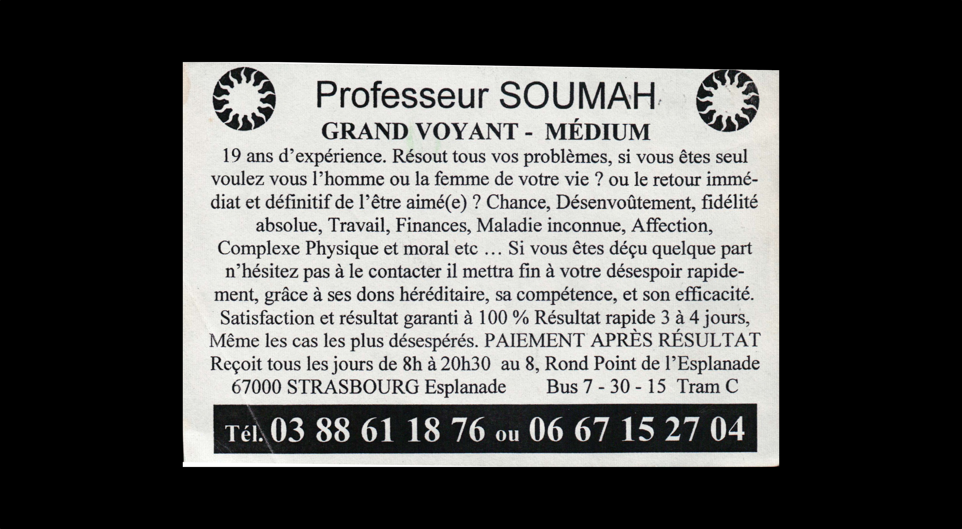 card of Proffeseur Soumah