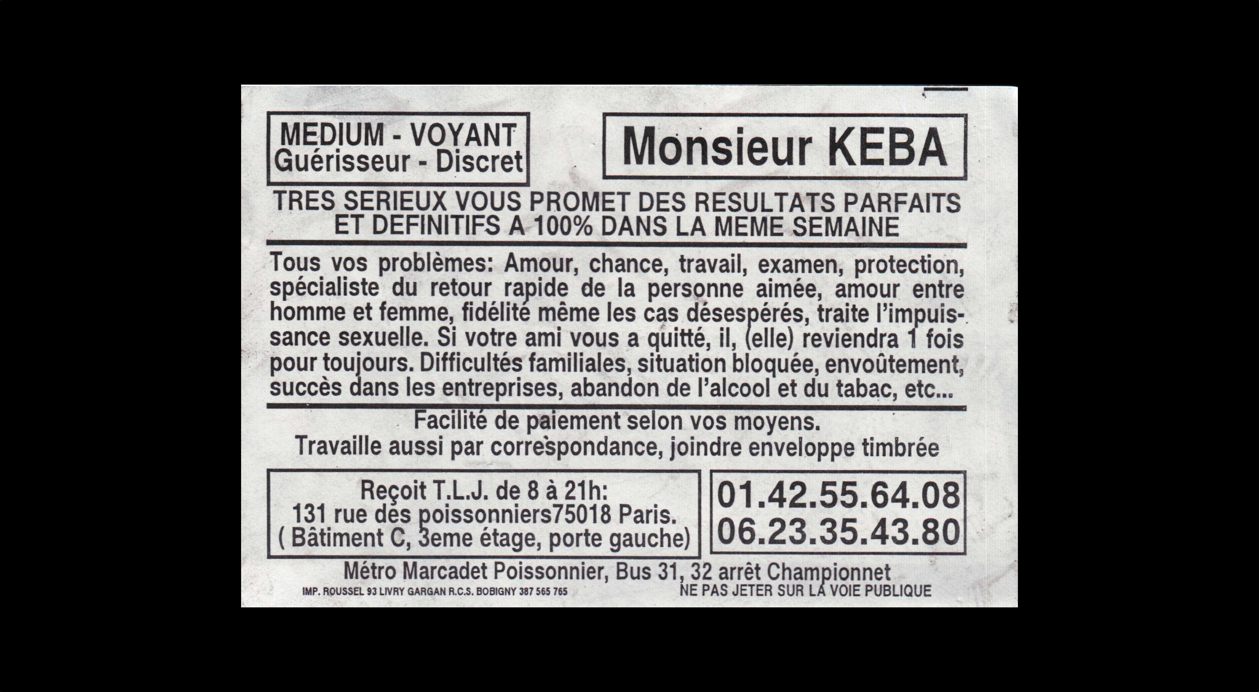 card of Monsieur KEBA (2007)